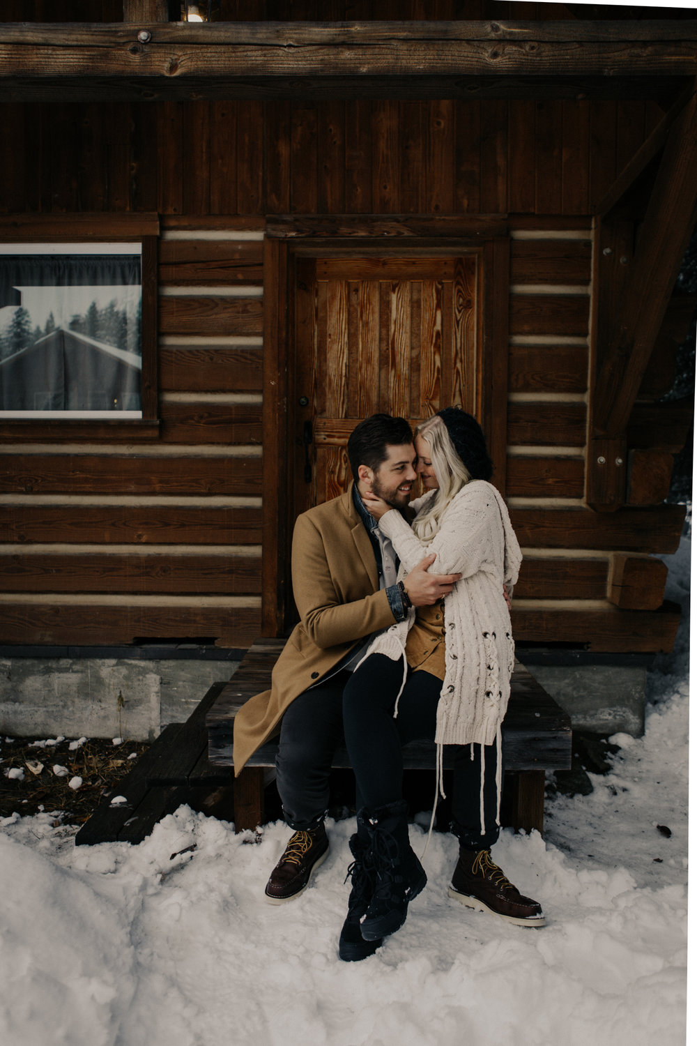 Snowy Cabin Couple Picture
