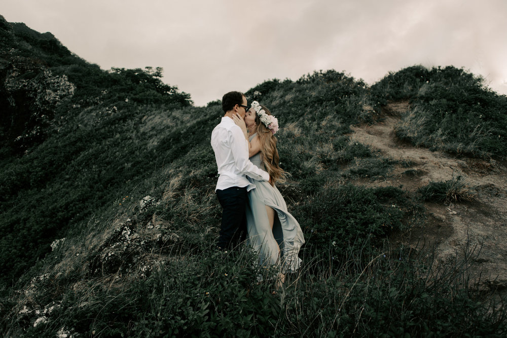 Crouching Lion Hike Hawaii Elopement