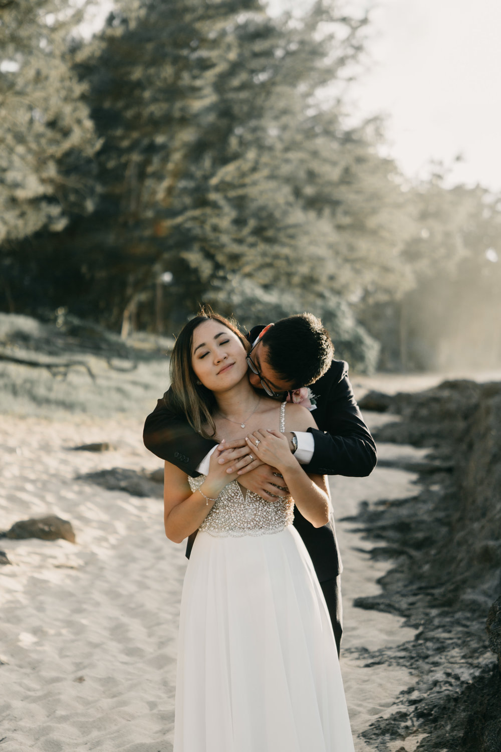 Stables Beach at Turtle Bay Resort Elopement by Hawaii Fine Art Wedding Photographer Desiree Leilani