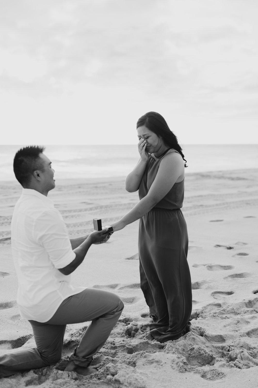 Surprise Proposal Photography at Yokohama Bay by Oahu Wedding Photographer Desiree Leilani