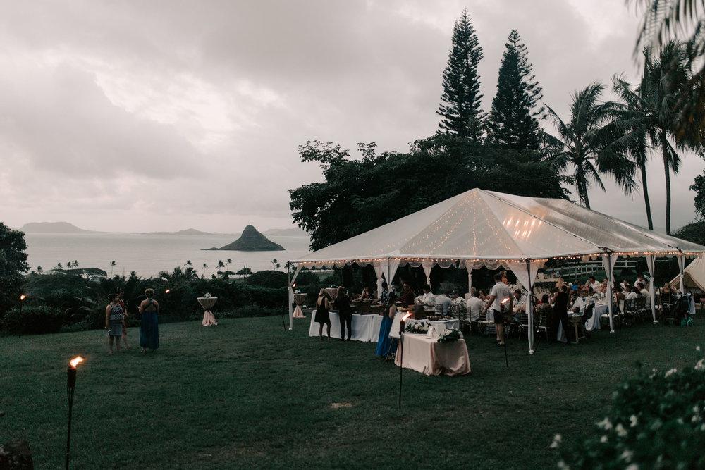 Beautiful ocean view wedding at  Kualoa Ranch Paliku Gardens. Photography by Hawaii wedding photographer Desiree Leilani