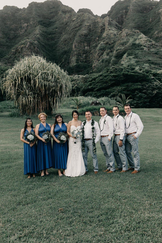 Bridal Party Photo at Kualoa Ranch Paliku Gardens. Photography by Hawaii wedding photographer Desiree Leilani