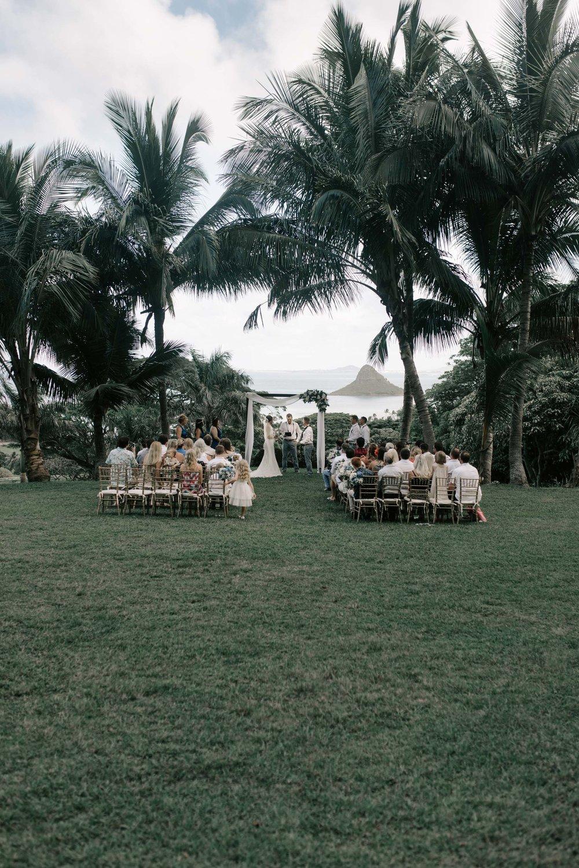 Kualoa Ranch Paliku Gardens Wedding Ceremony. Photography by Hawaii wedding photographer Desiree Leilani