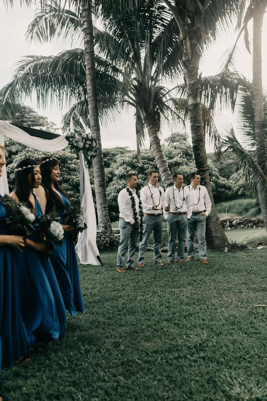 Wedding Ceremony at Kualoa Ranch Paliku Gardens. Photography by Hawaii wedding photographer Desiree Leilani
