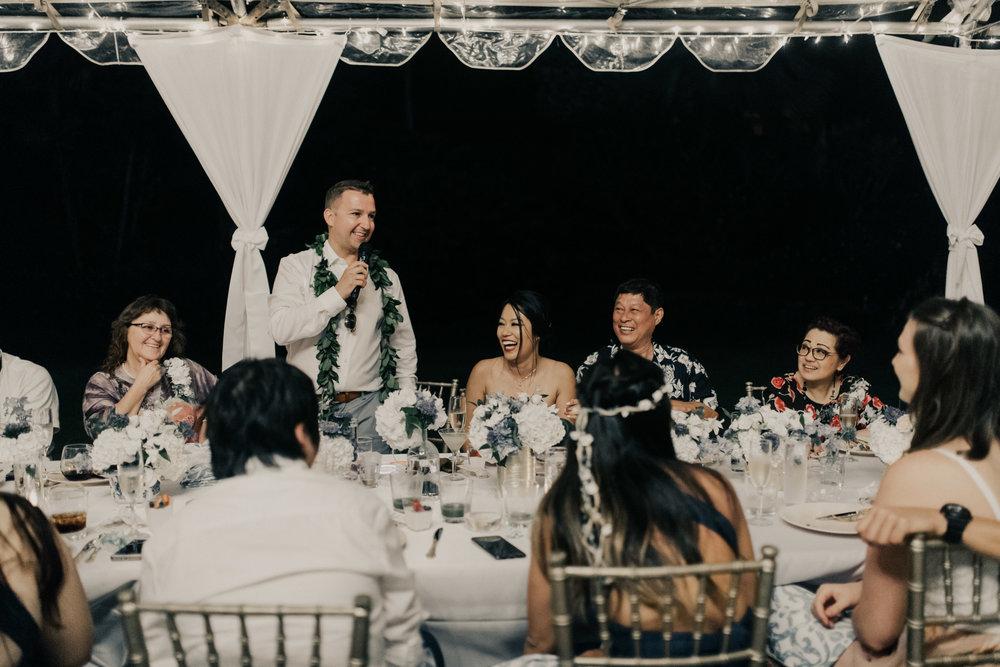 Groom speech at a Kualoa Ranch wedding. Photo by Oahu wedding photographer Desiree Leilani