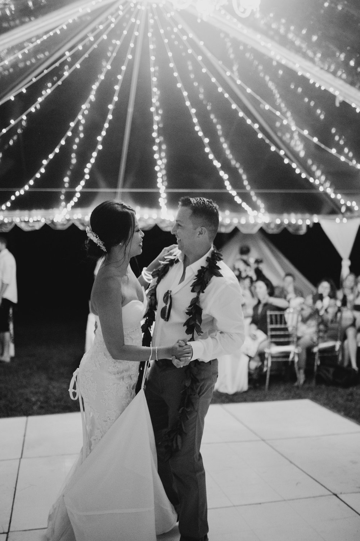 First dance at a Kualoa Ranch wedding. Photo by Oahu wedding photographer Desiree Leilani