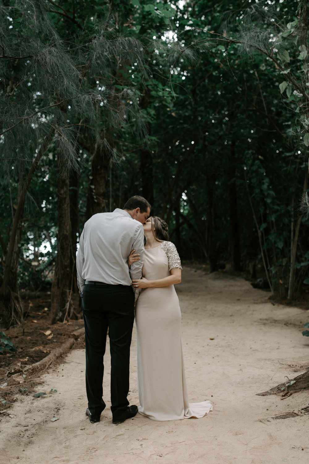 Blush Wedding Dress | Kualoa Ranch Secret Island Elopement by Hawaii Wedding Photographer Desiree Leilani