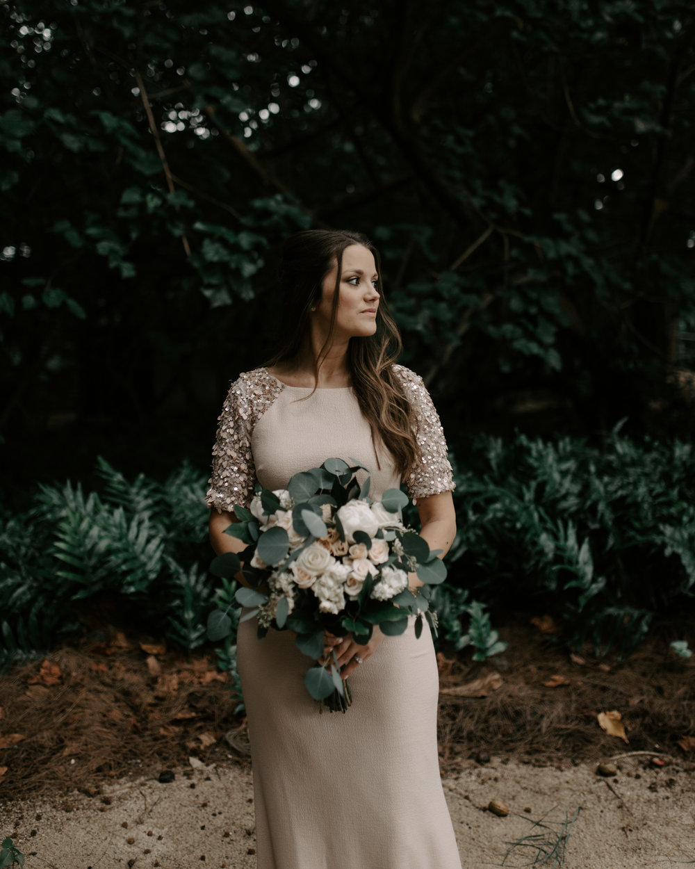Blush Wedding Dress Bridal Portrait | Kualoa Ranch Secret Island Elopement by Hawaii Wedding Photographer Desiree Leilani
