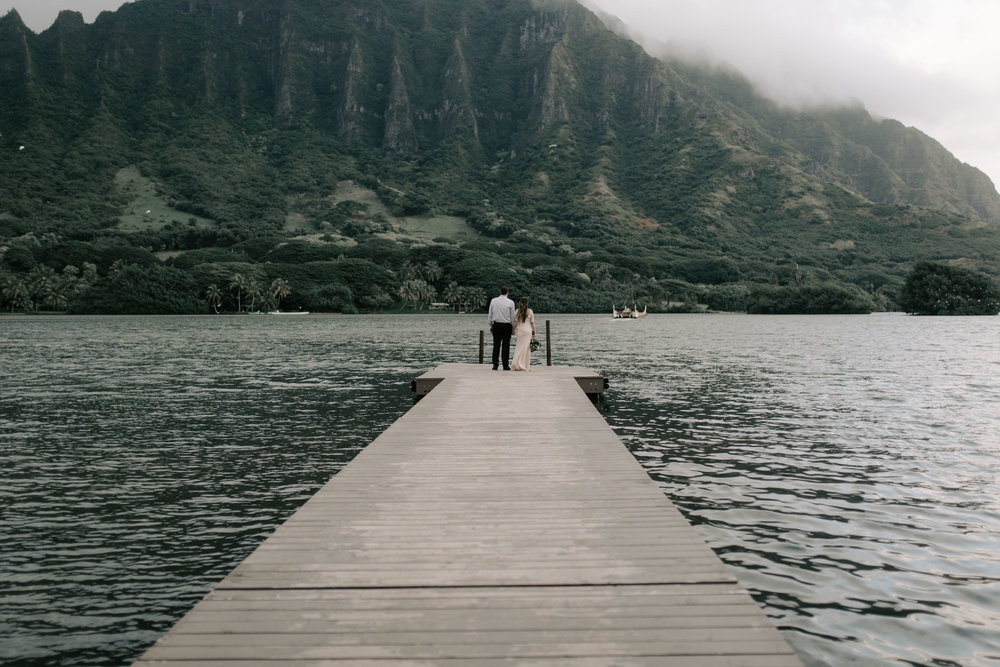 Kualoa Ranch Secret Island Elopement Overlooking the Koolau Mountains by Hawaii Wedding Photographer Desiree Leilani