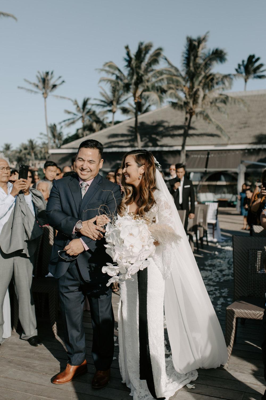 Father of the bride giving her away | Merriman's Kapalua Maui wedding by Hawaii wedding photographer Desiree Leilani