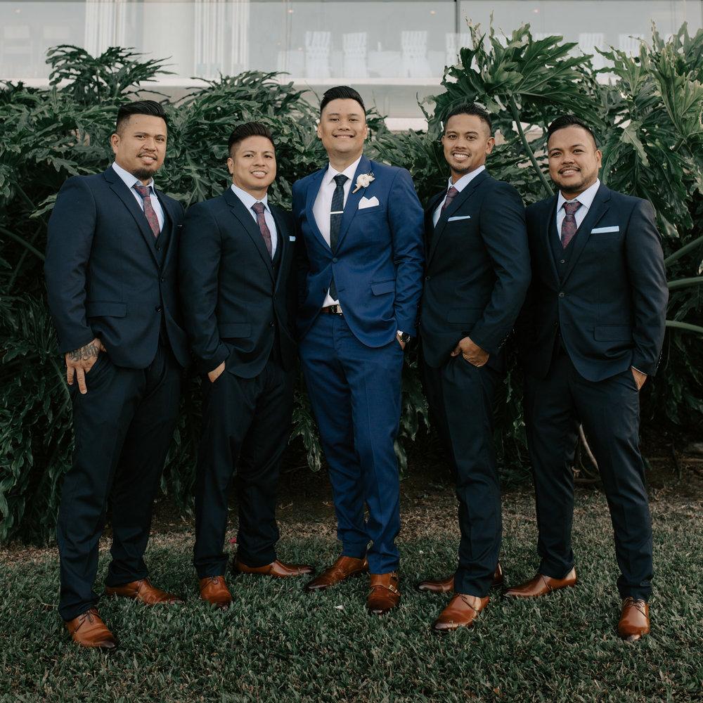 Groomsmen portrait | Merriman's Kapalua Maui wedding by Hawaii wedding photographer Desiree Leilani