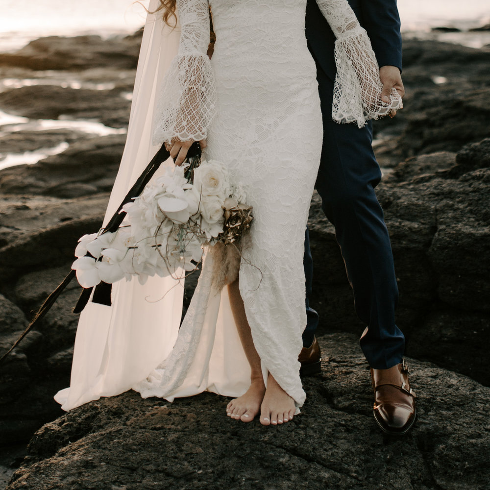 Dellables Floral Design and Grace Loves Lace Piper wedding gown | Merriman's Kapalua Maui wedding by Hawaii wedding photographer Desiree Leilani