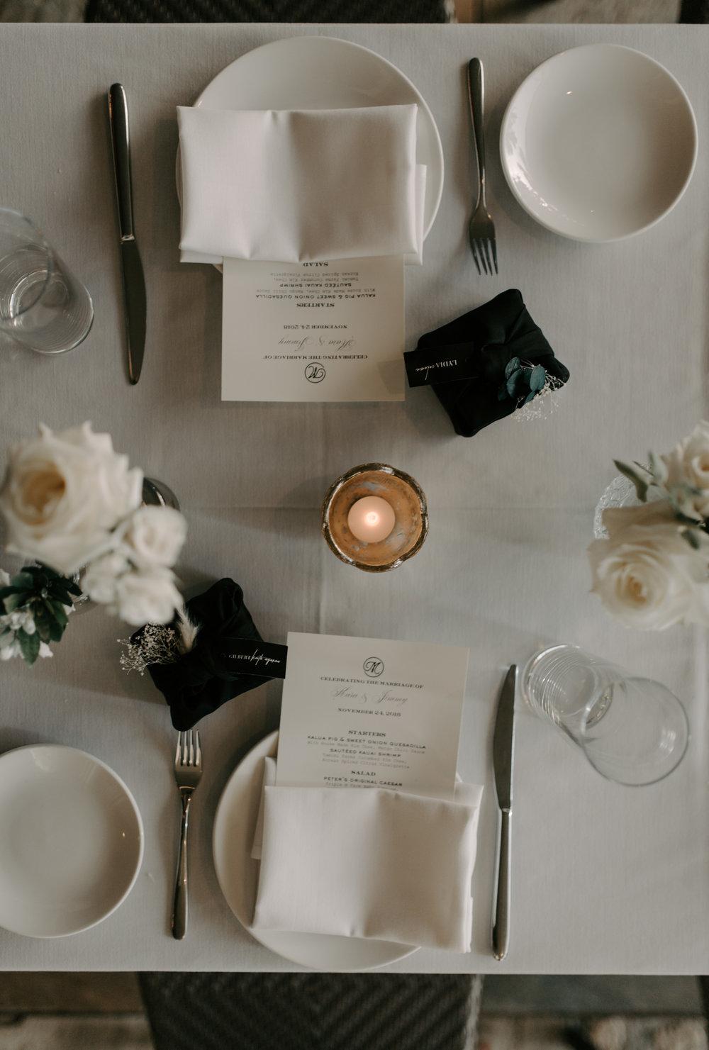 Wedding reception tablescape from above | Merriman's Kapalua Maui wedding by Hawaii wedding photographer Desiree Leilani