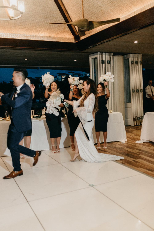 Bride & groom grand entrance | Merriman's Kapalua Maui wedding by Hawaii wedding photographer Desiree Leilani