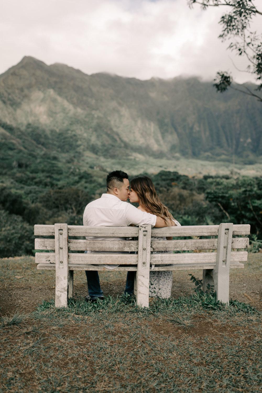 Gorgeous Hawaii Engagement Photos Overlooking the Koolau Mountains by Hawaii Wedding Photographer Desiree Leilani