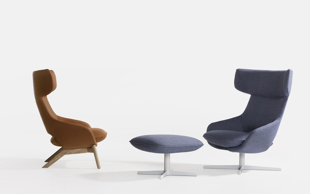 """To me, Kalm is a statement,"" Norguet said. ""The clean and expressive lines set it apart from other big armchairs. This chair brings to mind a lifestyle the is vital and vibrant.  ""       ""I first designed the cushion for the base of the chair. The semi-circular 'dish' of the backrest and armrest is attached to the underside of the cushion. These two forms clearly reflect the Artifort DNA."""