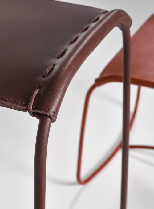 Your choice of 4 saddle leather options: Natural, Cognac, Havana, or Black. With matching leather cord stitching.