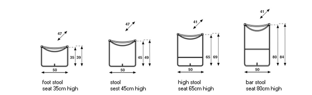 Full range of sizes available. From a footstool to a bar stool.