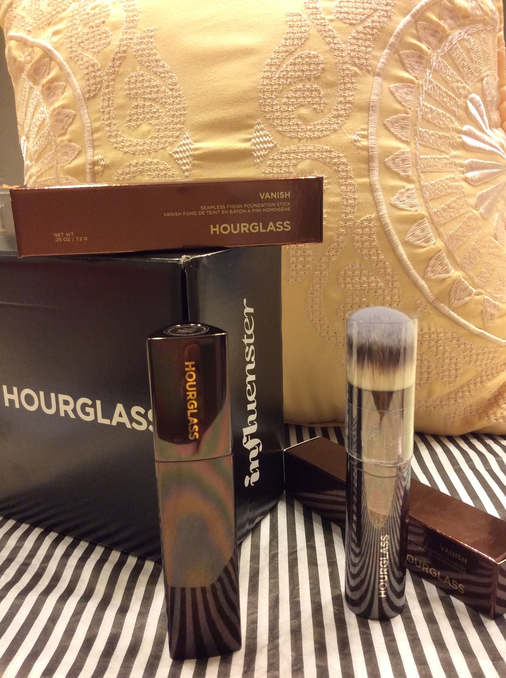 Hourglass Cosmetics Vanish Seamless Finish Foundation Stick with Vanish Foundation Brush   Hourglass + Influenster Vox Box.