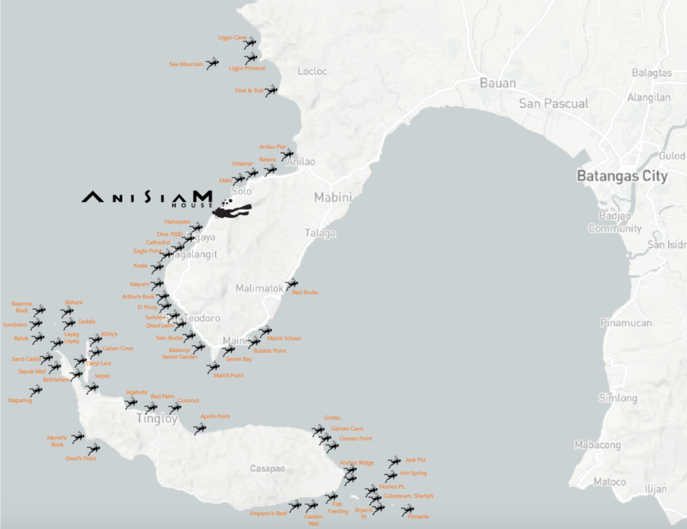 Anisiam House location & Dive-sites
