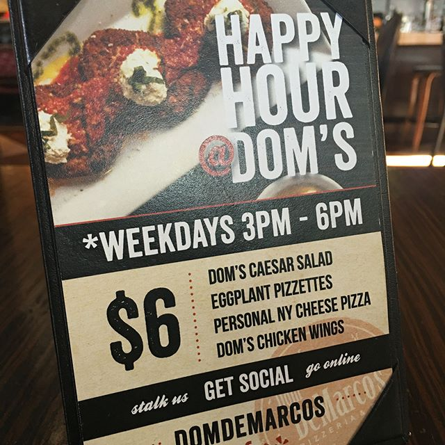 Where are you? I'm at Dom's - it's Happy Hour and I'm hungry. Drink specials include Well Drinks | All Beer | Wine By the Glass - buy one, get one free!  #cincodemayo #cincodemayovegas #margarita #pizza #tequila #homemademozzarella #Granapadono #marghertiaPizza #pizzaporn #foodgasm #vegasfood #vegaseats #happyHour #LasvegasHappyhour #Socialalerts @SocialAlerts #Eggplant #ChickenWings #drinkodemayo #PizzaOnCinco #PizzaEveryday #DiFara #BrooklynPizza #PizzaIsLife