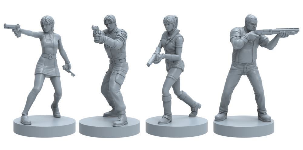 3D Renders of Ada, Leon, Claire, and Kendo