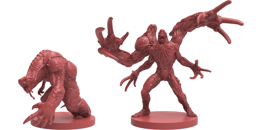3D Renders of the G-Mutant [left] and William Birkin, Stage 3 [Right]