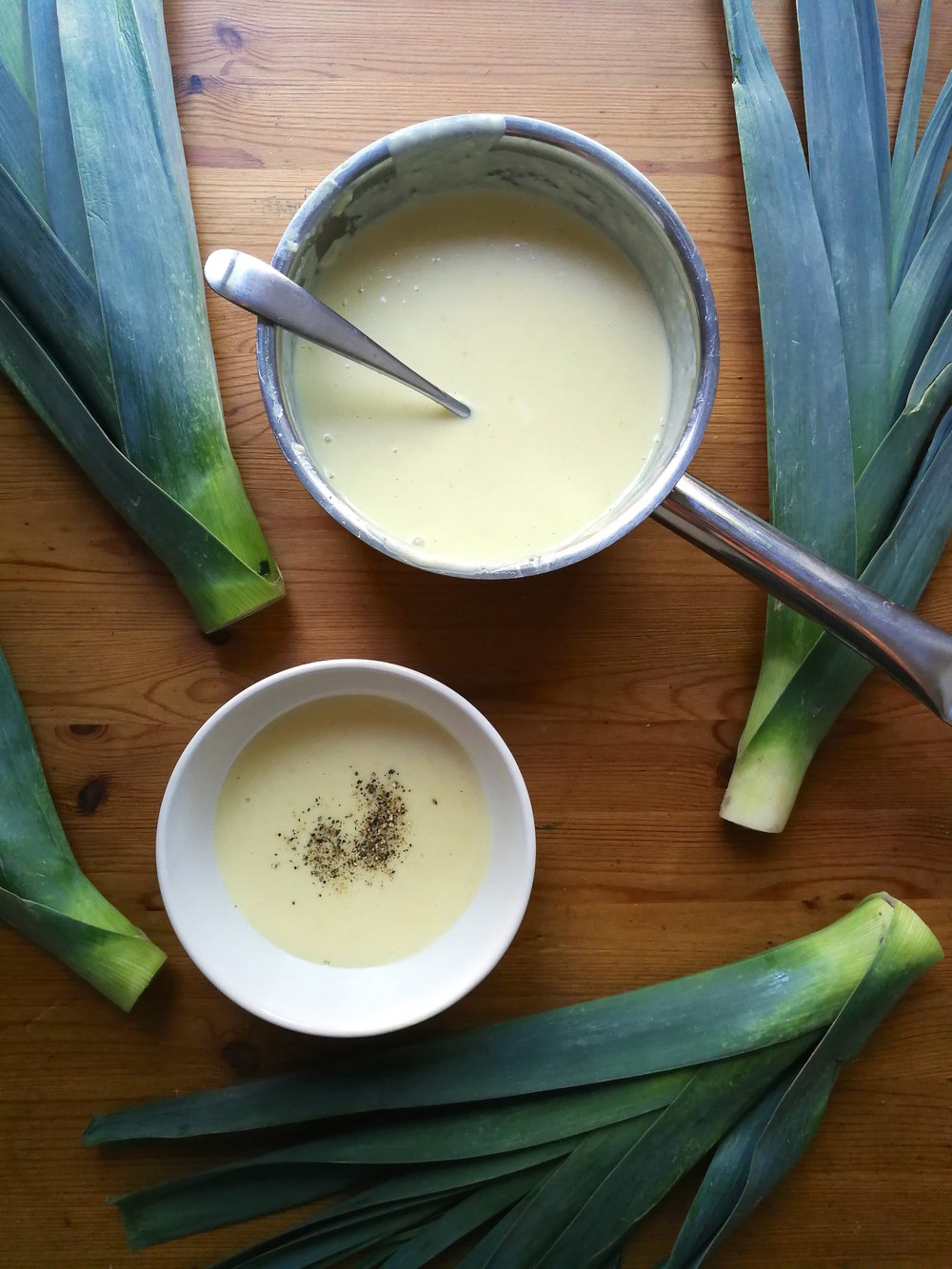 Vichysoisse - a leek and potato soup, served chilled.