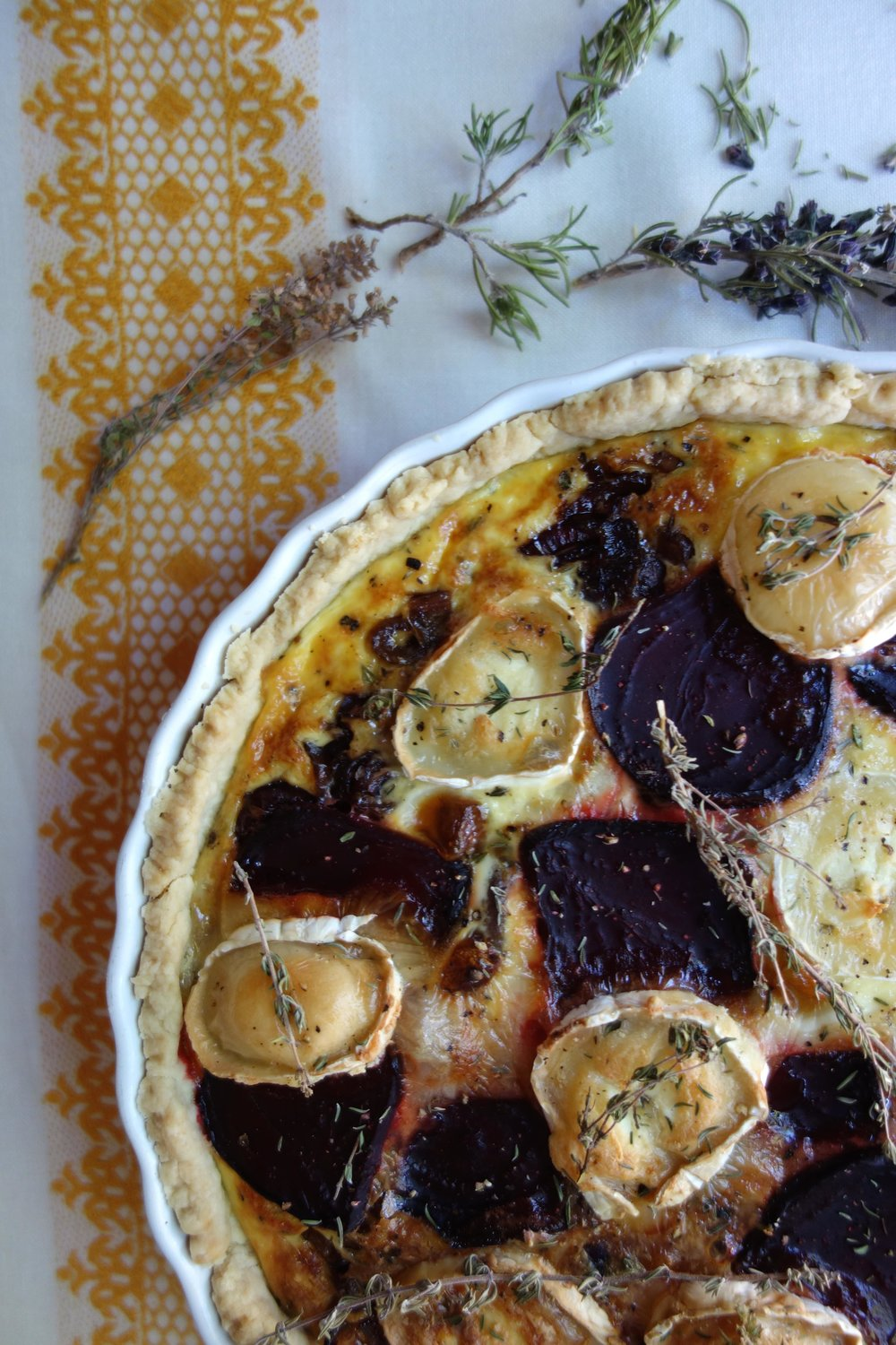 Goat cheese and beetroot tart with homemade pastry.