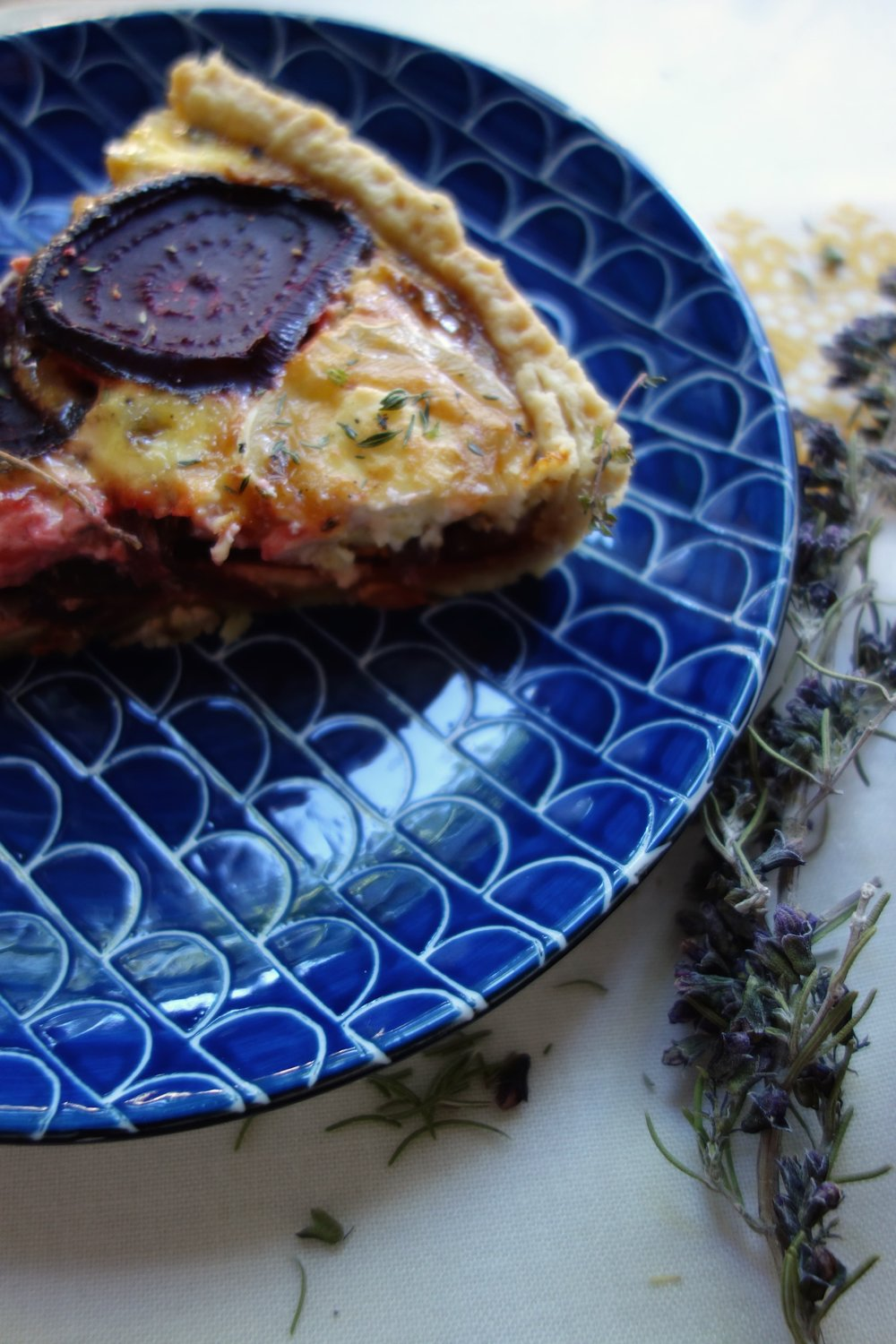 Beetroot, onion and goat cheese tart recipe
