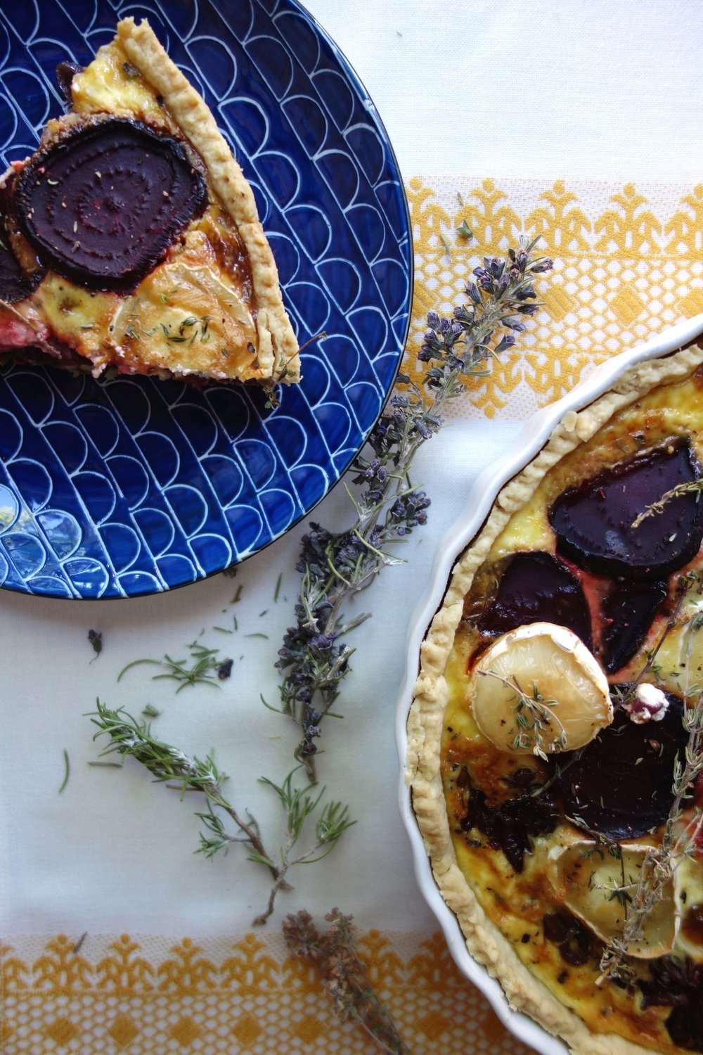 Beetroot and goat cheese tart.