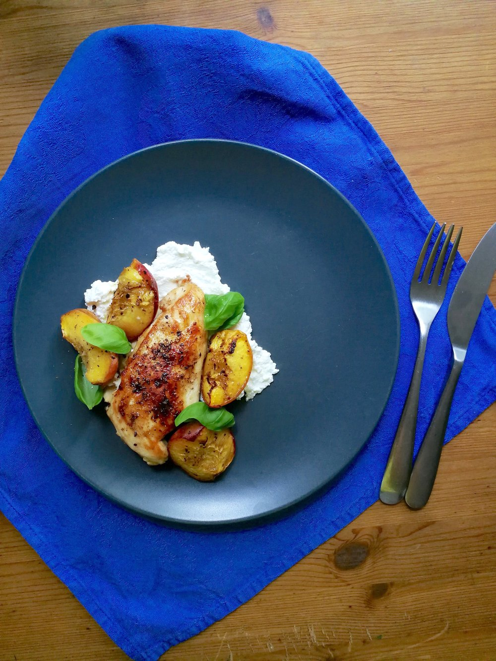 Chicken breasts with summer peaches, roasted.