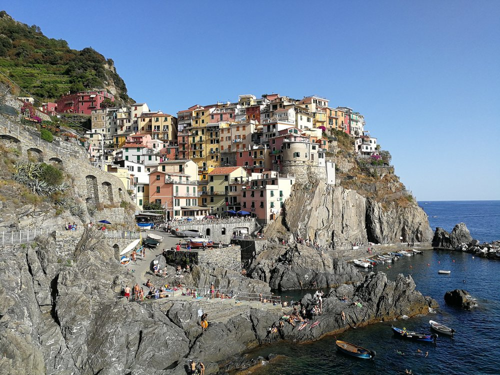 View of Manarola, the second village of the Cinque Terre.