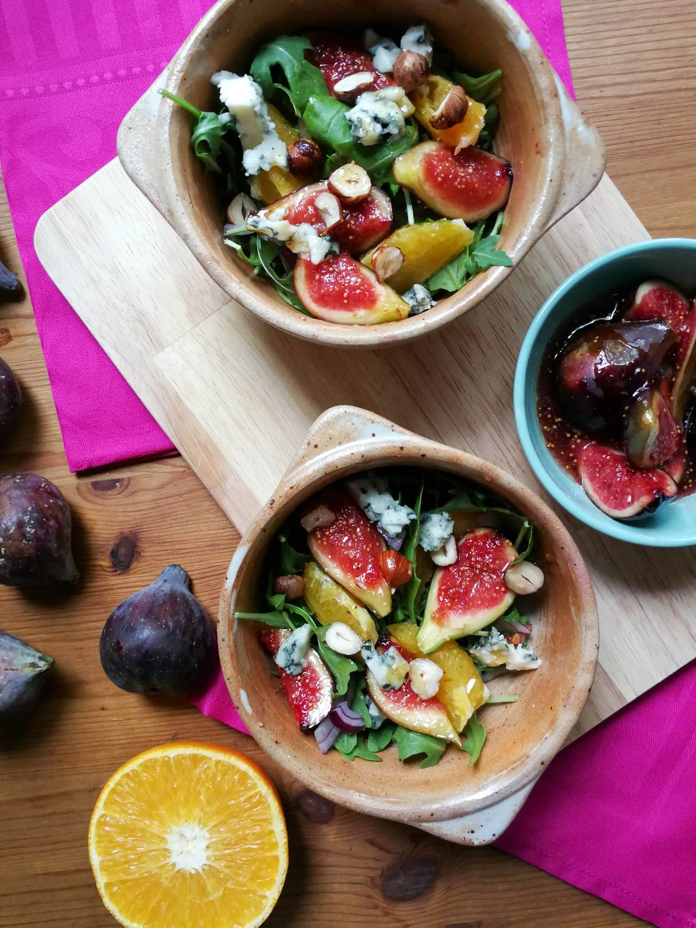fig, hazelnut, orange blue cheese salad
