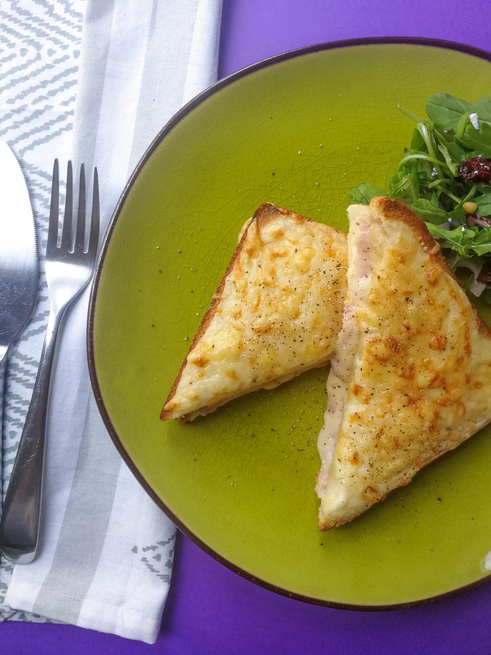 The croque monsieur - i.e. all that the madame is, sans the yolk.