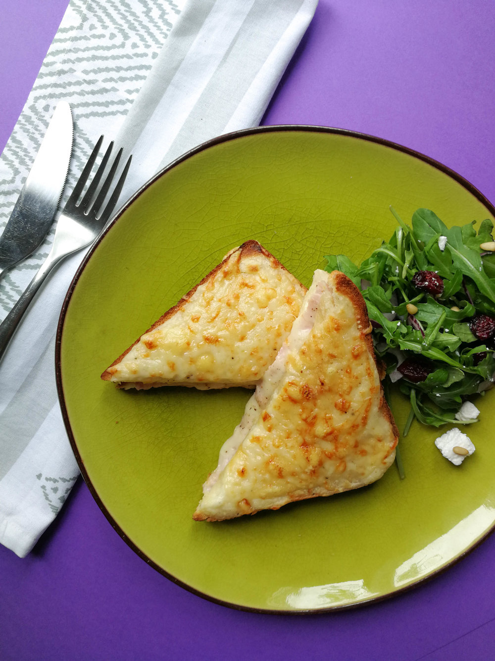 Croque monsieur literally means 'mr crunch', while croque madame means - you guessed it - 'mrs crunch'.