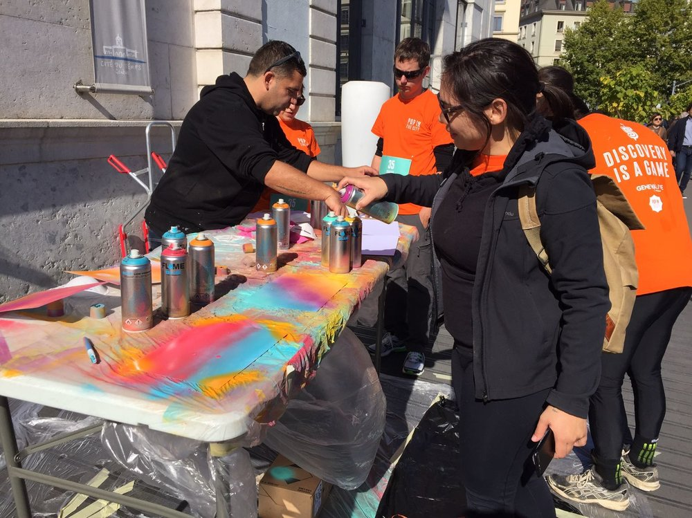 spray painting Pop in the City Geneva