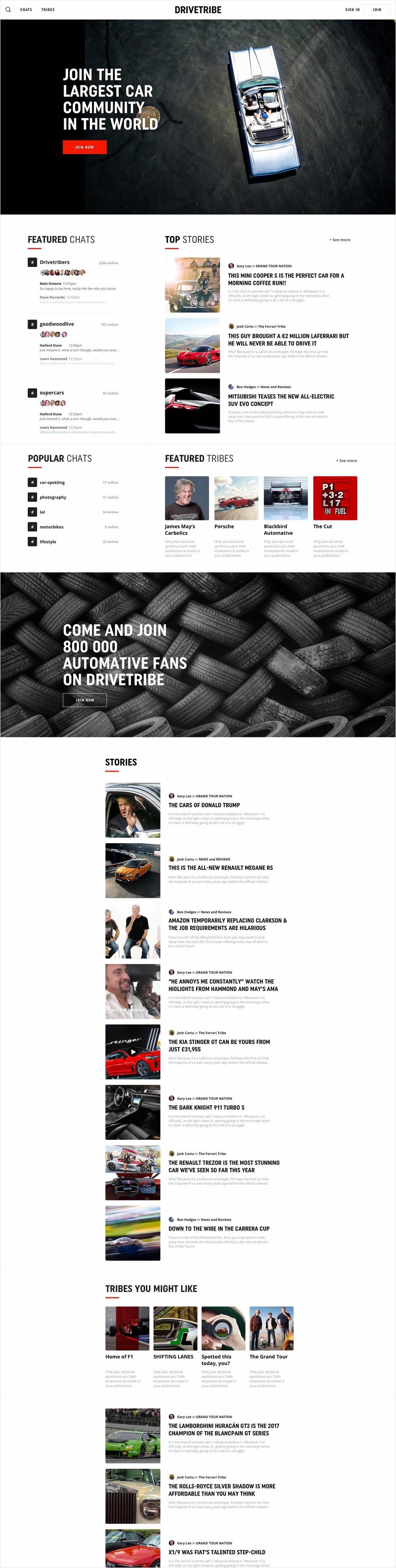 drivetribe - homepage