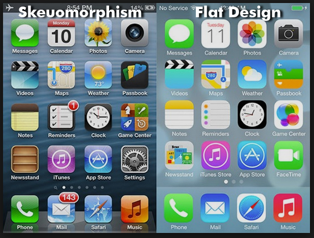 Skeuomorphism vs Flat design (but that's a whole different story).