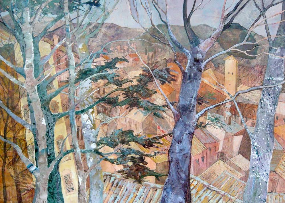Spoleto through the trees