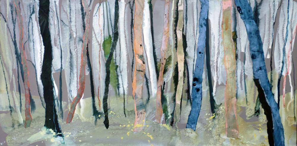 Burnt trees in winter