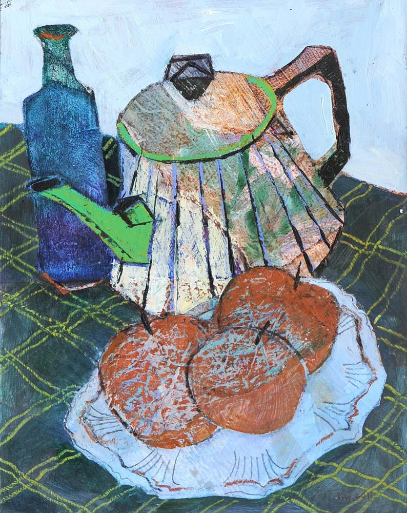 Tin teapot still life