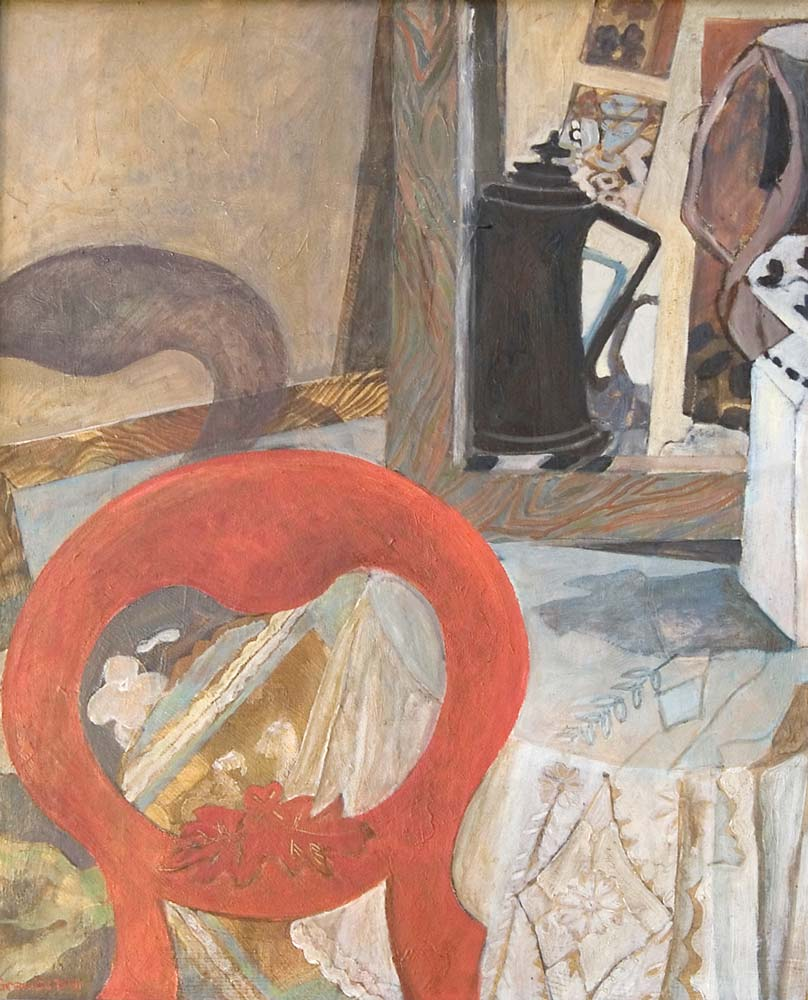 Still life with red chair