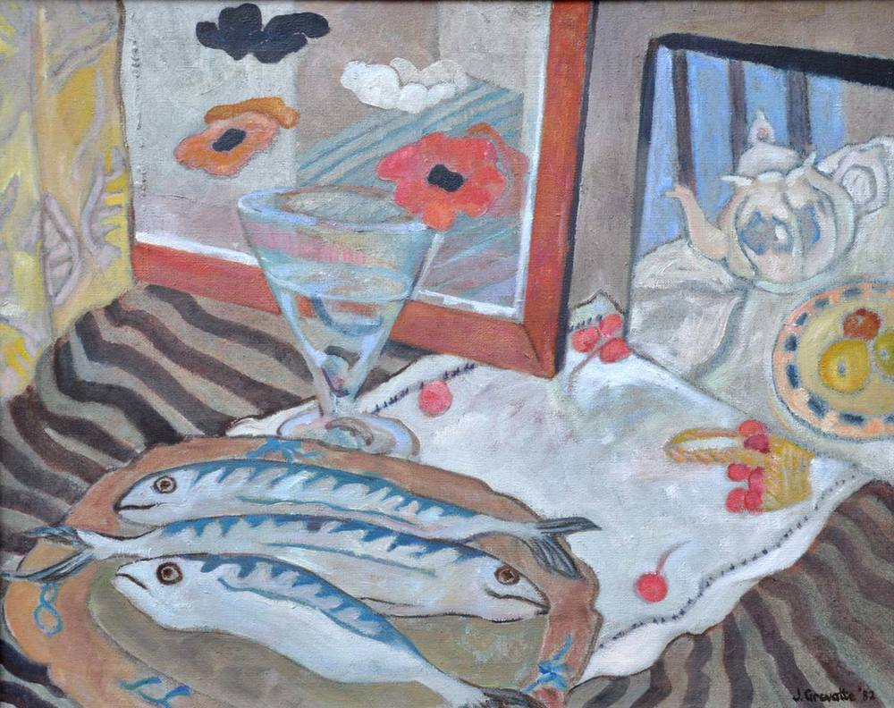 Still life with mackerel