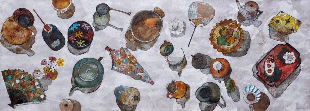 Bird's eye view of studio objects