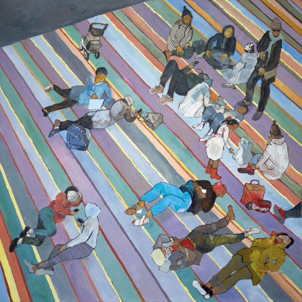 Relaxing on the carpet at Tate Modern Oil and mixed media 70 x70 cms