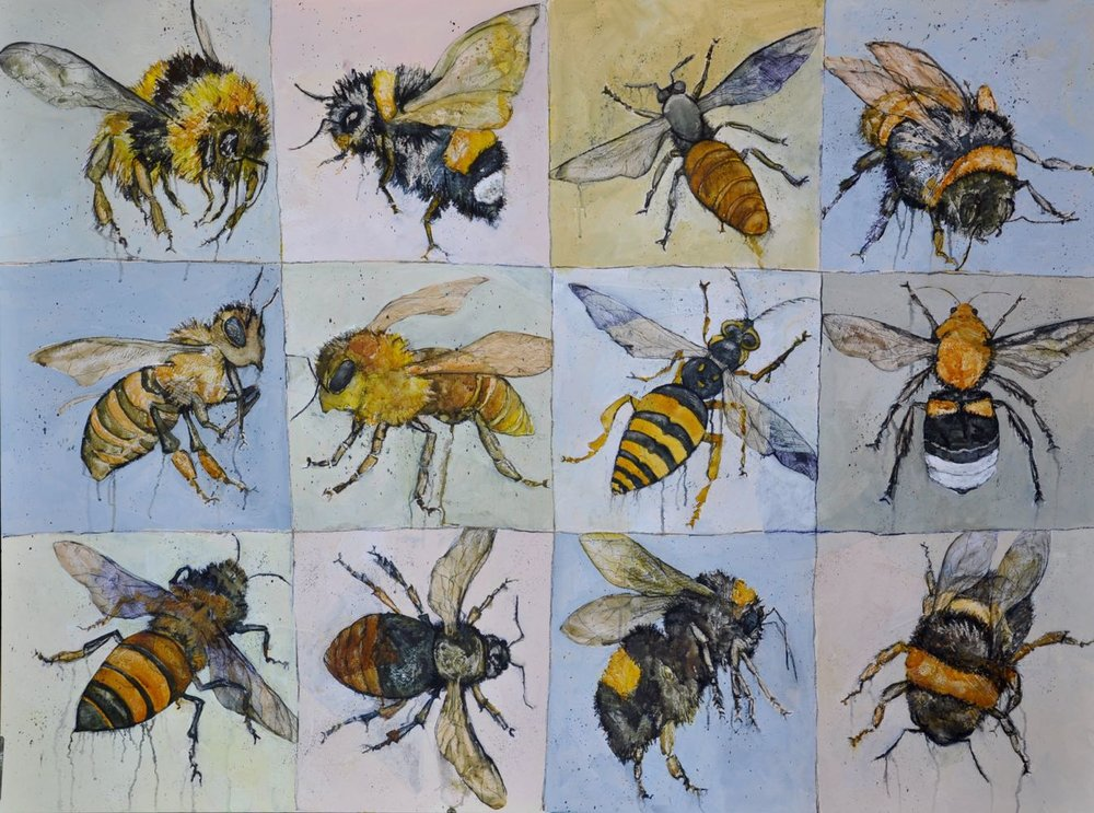 """Eleven bees and a wasp"""