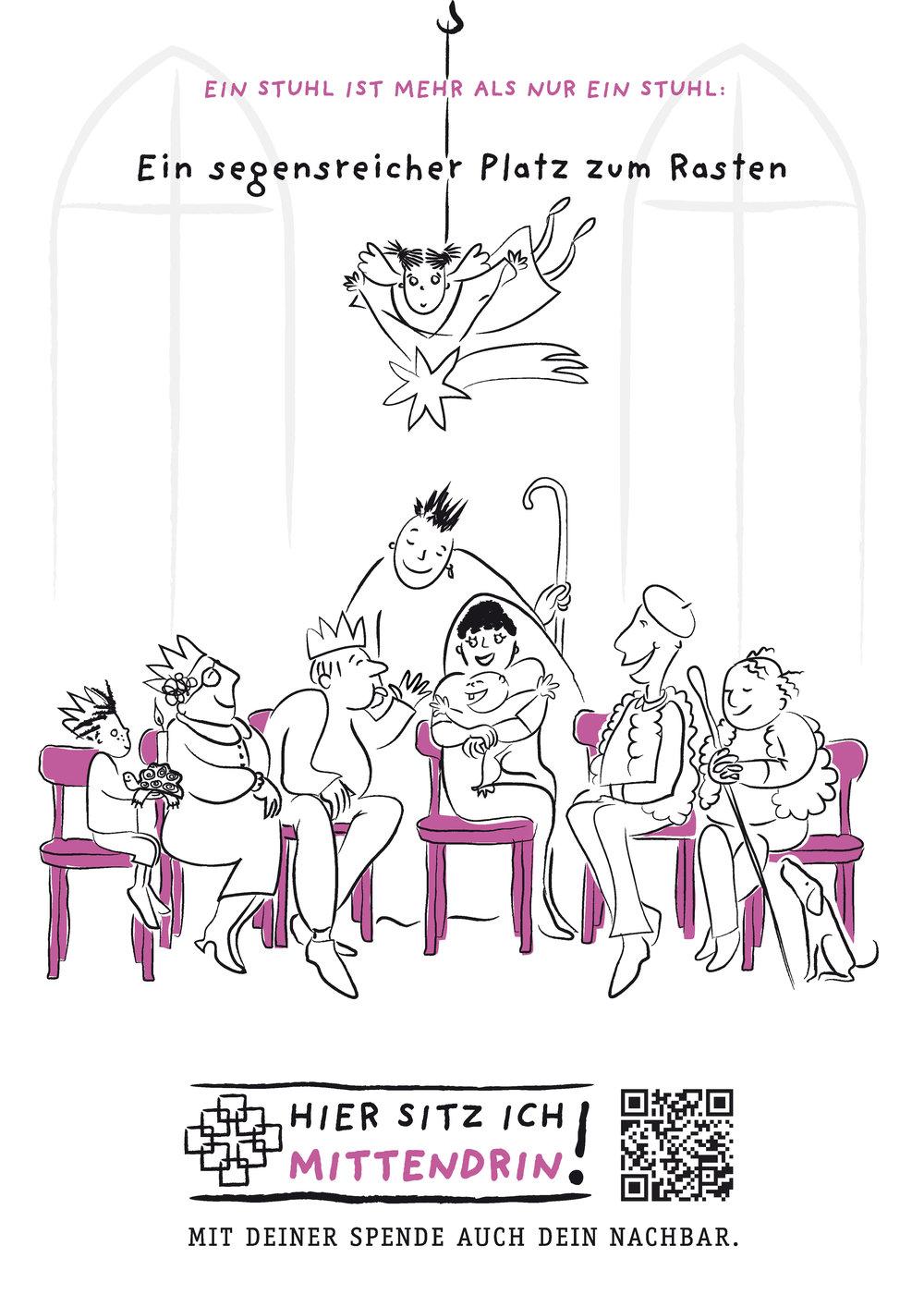 Das aktuelle Plakat der Kampagne - alle zwei Monate erzählt ein neues Motiv die Geschichte vom lila Stuhl. - Gestaltung alle Poster: Dagmar Brunk, Brunk-Design
