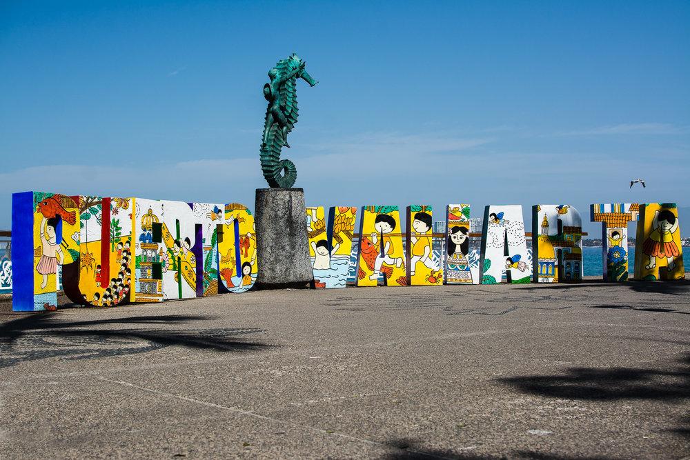 "The iconic ""Puerto Vallarta"" letters on El Malecon."