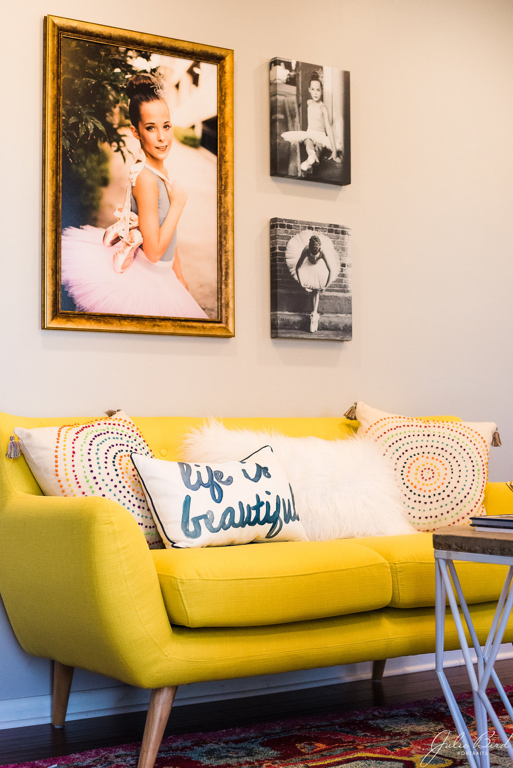 I love having a large gallery wall to display some of my favorite work and help clients visualize how canvases and portraits will look in their home.